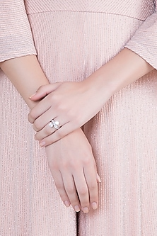 White Finish 925 Sterling Silver Swarovski Zircon Solitaire Ring by Adiara Queen Jewellery