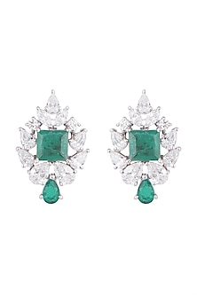 White Finish 925 Sterling Silver Swarovski Zircon & Green Stone Earrings by Adiara