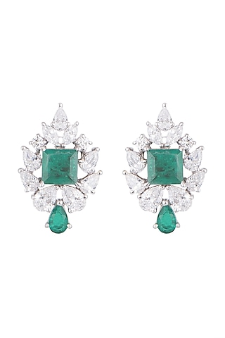 White Finish 925 Sterling Silver Swarovski Zircon & Green Stone Earrings by Tesoro by Bhavika