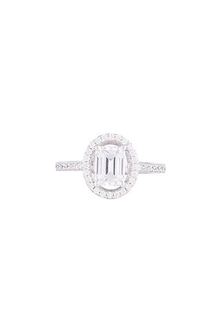 White Finish 925 Sterling Silver Swarovski Zircon Solitaire Diamond Ring by Tesoro by Bhavika