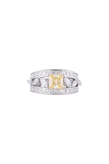 White Finish 925 Sterling Silver White & Yellow Swarovski Zircon Ring by Adiara Queen Jewellery