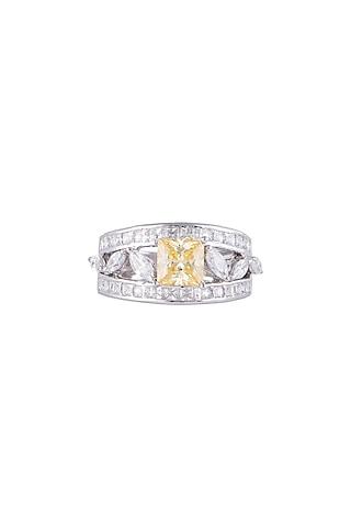 White Finish 925 Sterling Silver White & Yellow Swarovski Zircon Ring by Tesoro by Bhavika