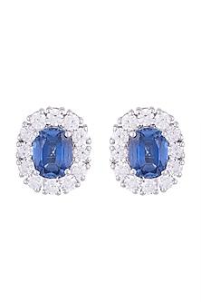 White Finish 925 Sterling Silver Swarovski Zircon & Blue Stone Stud Earrings by Adiara Queen Jewellery