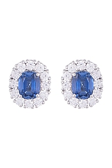 White Finish 925 Sterling Silver Swarovski Zircon & Blue Stone Stud Earrings by Adiara
