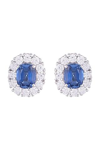 White Finish 925 Sterling Silver Swarovski Zircon & Blue Stone Stud Earrings by Tesoro by Bhavika