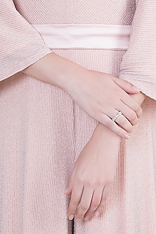White Finish 925 Sterling Silver Swarovski Zircon Band Ring by Adiara Queen Jewellery