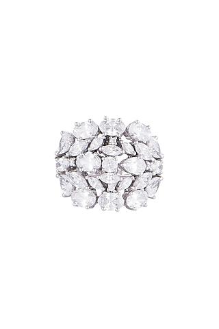 White Finish 925 Sterling Silver Swarovski Zircon Fancy Cocktail Ring by Tesoro by Bhavika