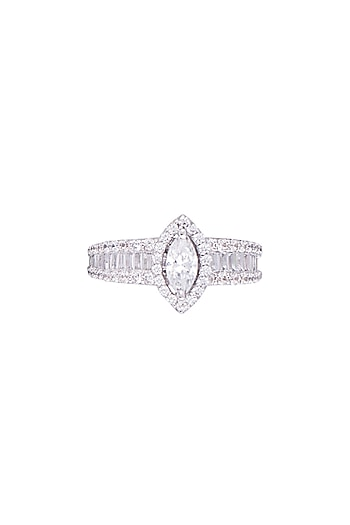 White Finish 925 Sterling Silver Swarovski Zircon Solitaires Ring by Adiara