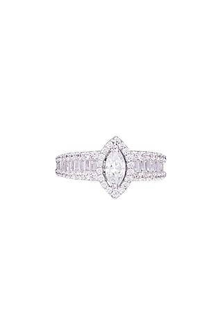 White Finish 925 Sterling Silver Swarovski Zircon Solitaires Ring by Tesoro by Bhavika