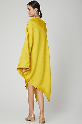Yellow One Shoulder Belted Dress by Arab Crab