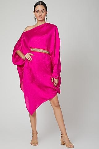 Pink One Shoulder Belted Dress by Arab Crab