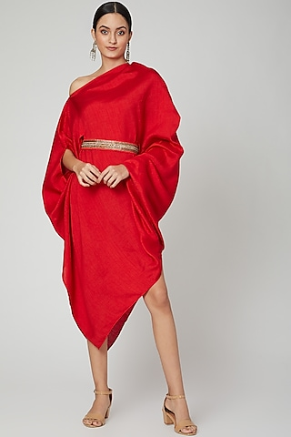 Red One Shoulder Belted Dress by Arab Crab