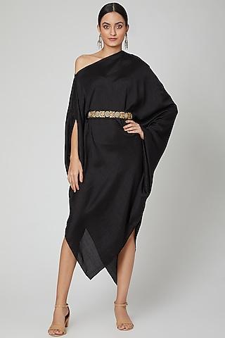 Black One Shoulder Belted Dress by Arab Crab