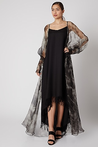 Black Flared Slip Dress by Aroka