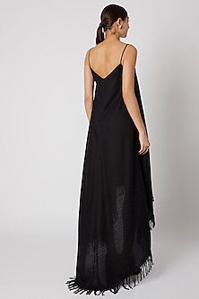 Black Flared Slip Dress by Aroka