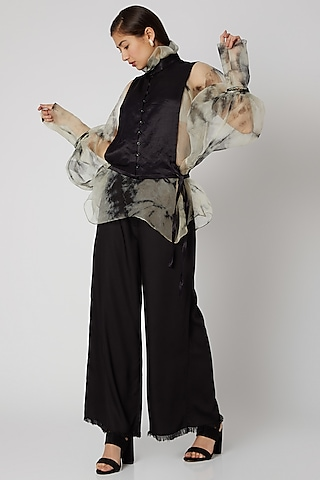 Black Flared Pants With Waist Band by Aroka