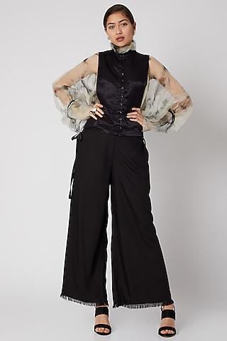 Black Mashru Flap With Tie-Dye Sheer Top by Aroka