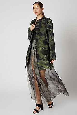 Black & Green Tie-Dye Jacket by Aroka