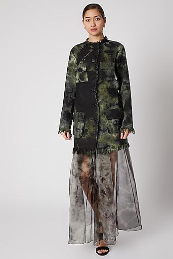 Black & Green Tie-Dye Sheer Skirt by Aroka