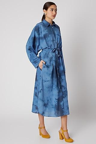 Sky Blue Tie-Dye Shirt Dress by Aroka
