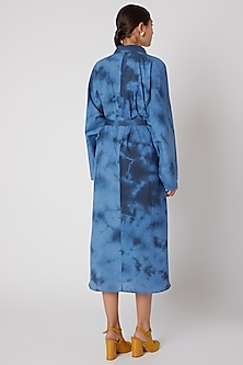 Sky Blue Tie-Dye Shirt Dress by Aroka