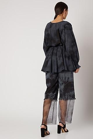 Black & Grey Tie-Dye Pant by Aroka