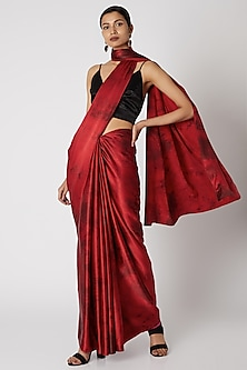 Red Tie-Dye Silk Saree by Aroka
