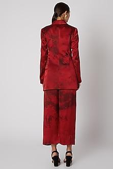Red Tie-Dye Silk Blazer by Aroka