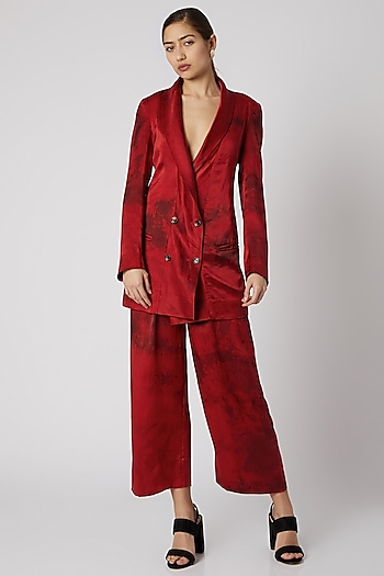 Red Tie-Dye Silk Trousers by Aroka