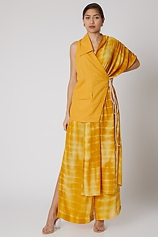Mustard Tie-Dye Overlaped Pants by Aroka