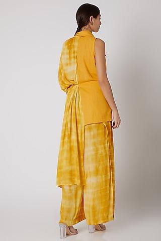 Mustard Tie-Dye Overlaped Pants by Aroka