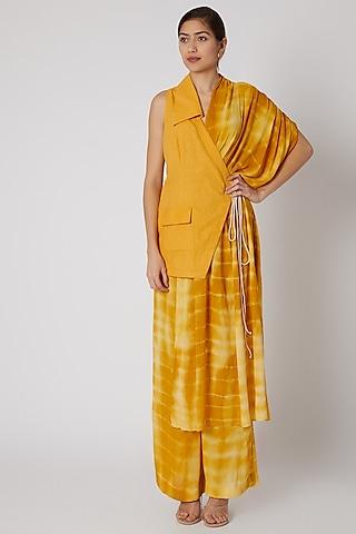 Mustard Tie-Dye Half & Half Jacket by Aroka