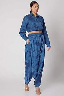 Sky Blue Tie-Dye Dhoti Pants by Aroka