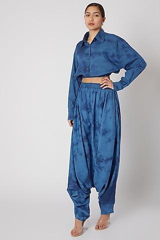 Sky Blue Tie-Dye Crop Shirt by Aroka