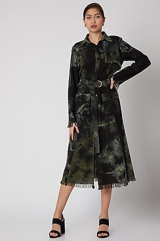 Black & Green Tie-Dye Jacket Dress by Aroka