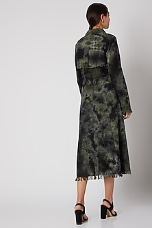 Black & Green Tie-Dye Jacket Dress by Aroka