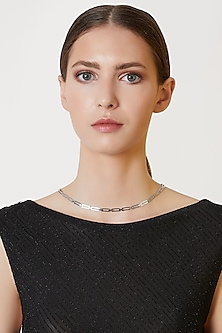 White Finish Liaise Necklace by ARVINO