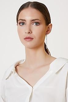 White Finish Liaise Dangler Earrings by ARVINO