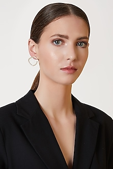 Gold Plated Curved Diamond Earrings by ARVINO
