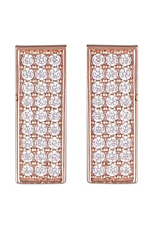 Gold Plated Stud Earrings With Faux Diamonds & Cubic Zirconia by ARVINO