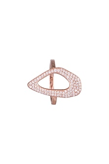 Gold Plated Diamond Hollow Ring by ARVINO