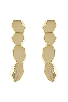 Gold Plated Handcrafted Textured Earrings by ARVINO