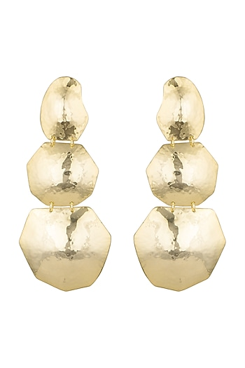 Gold Plated Handcrafted Textured Long Earrings by ARVINO