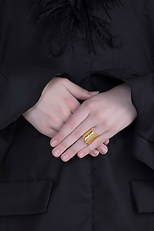 Gold Plated Textured Ring by ARVINO