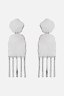 Silver Plated Handcrafted Textured Long Earrings by ARVINO
