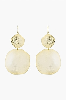Gold Plated Textured Dangler Long Earrings by ARVINO