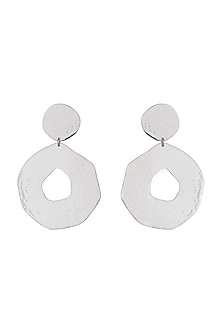 Silver Plated Textured Earrings by ARVINO