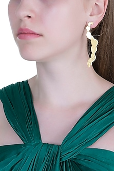 Gold Plated Textured Dangler Earrings by ARVINO
