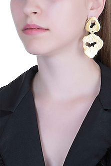 Gold Plated Textured Long Earrings by ARVINO