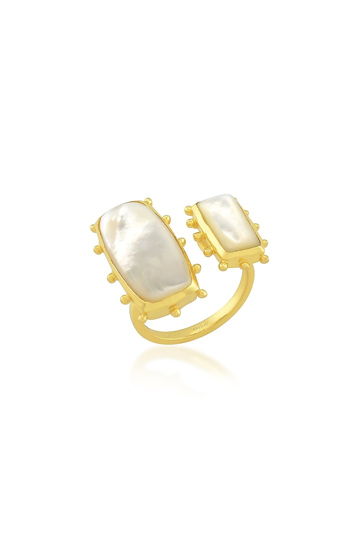Gold Finish Adjustable Ring With Pearls by Arvino